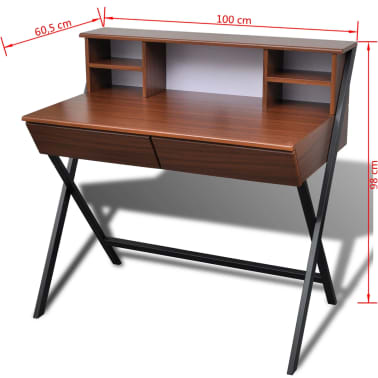 Brown Workstation Computer Desk with 2 Drawers[7/7]