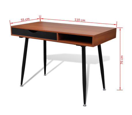Brown Workstation Computer Desk Laptop Table[7/7]