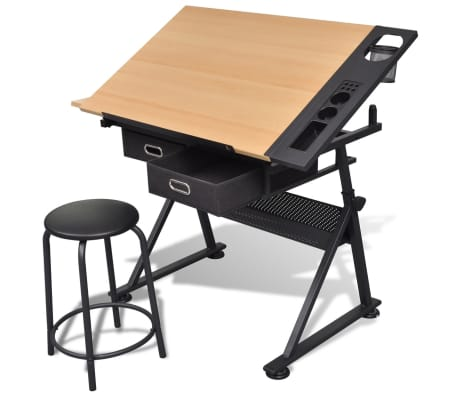 Two Drawers Tiltable Tabletop Drawing Table with Stool[1/8]