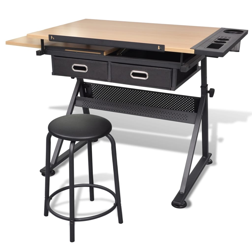 Kreslící stůl sklopný se dvěma zásuvkami a stoličkou