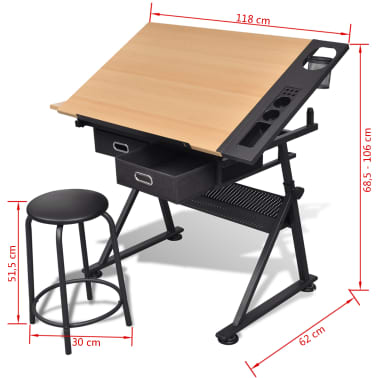 Two Drawers Tiltable Tabletop Drawing Table with Stool[8/8]