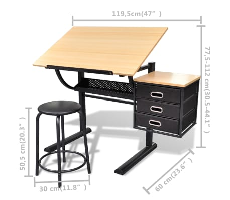 vidaXL Three Drawers Drawing Table with Stool[6/6]