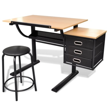 vidaXL Three Drawers Drawing Table with Stool[2/6]