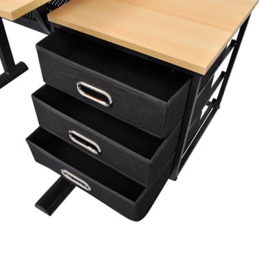 vidaXL Three Drawers Drawing Table with Stool[4/6]