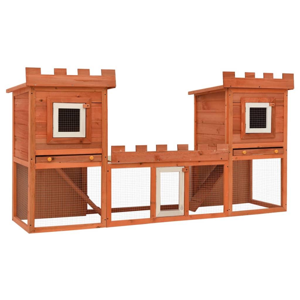 Velká venkovní králikárna / domek pro drobná zvířata, dvojitý domek