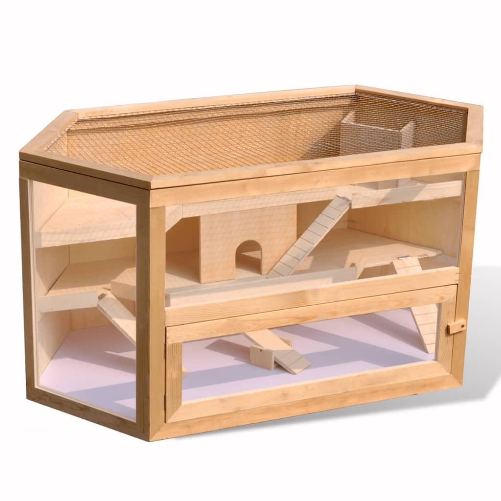 Cușcă hamsteri, cușcă șoareci, cușcă rozătoare, lemn, hexagonal vidaxl.ro