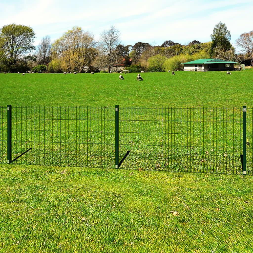 vidaXL Panou gard grădină 2D și stâlp, verde, 103 cm, 40 m poza 2021 vidaXL
