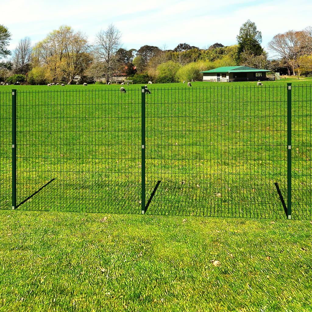 vidaXL Panou gard grădină 2D și stâlp, verde, 183 cm, 30 m imagine vidaxl.ro