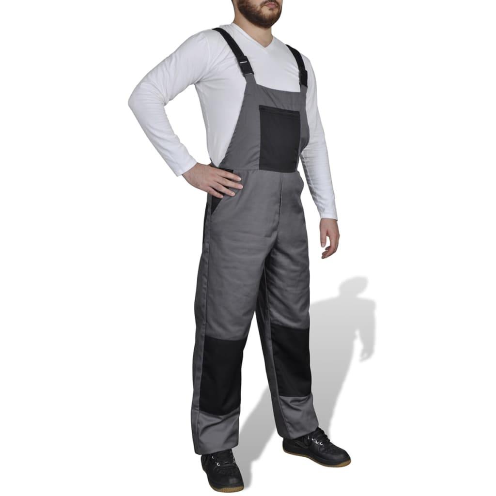 Šedé pánské pracovní kalhoty / montérky s laclem 44/46