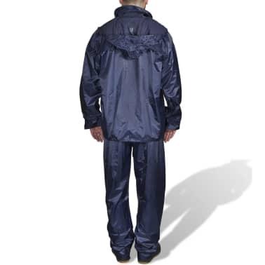 Regenpak 2-delig met capuchon (heren / marineblauw / maat M)[2/6]