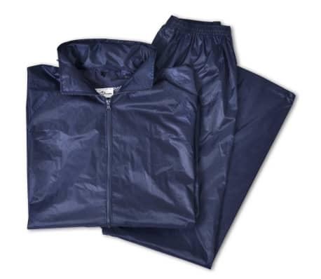 Blaue Regenbekleidung für Männer 2-teilig mit Kapuze Größe XL[5/6]