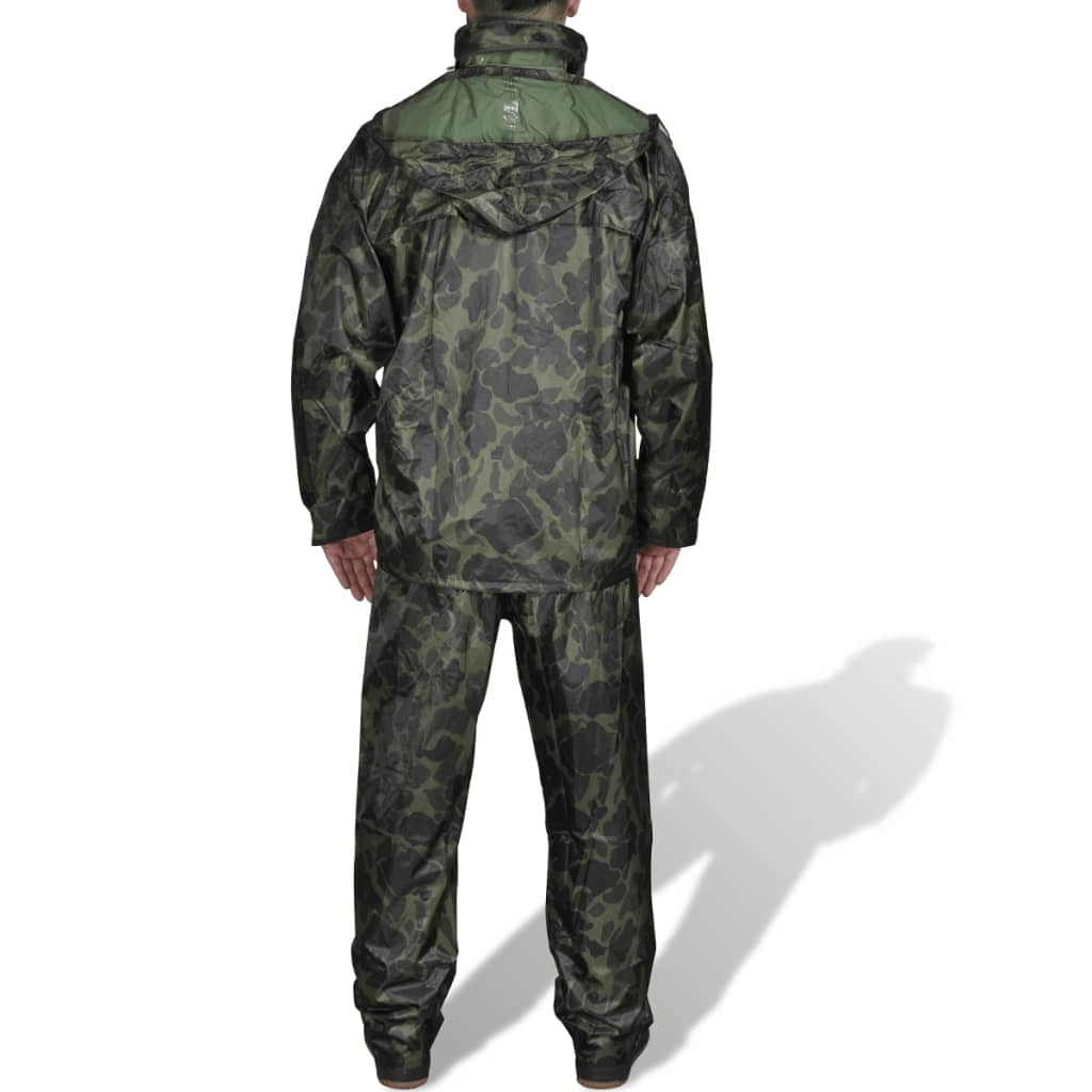 Pánský 2 dílný oblek do deště s kapucí - velikost XL - maskáčový
