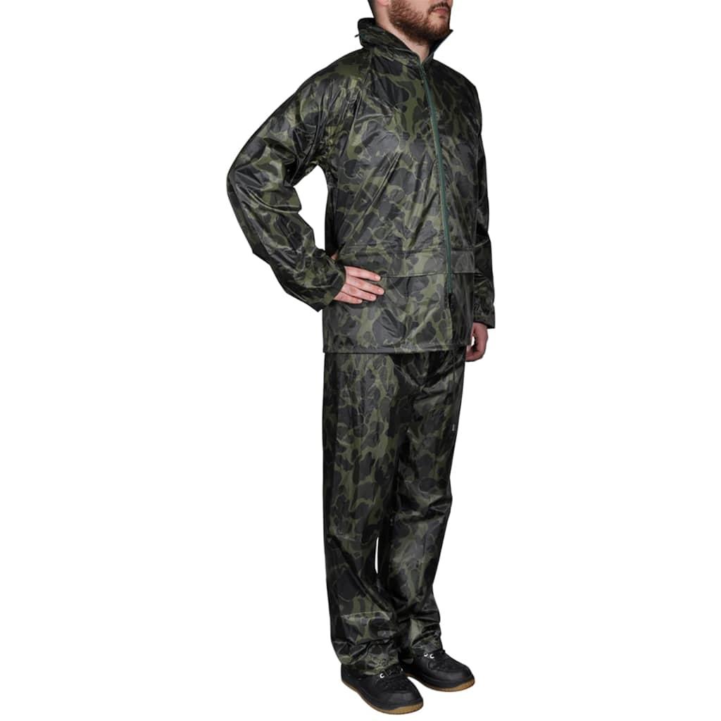 99130192 Tarnfarben Regenbekleidung für Männer 2-teilig mit Kapuze Größe XXL