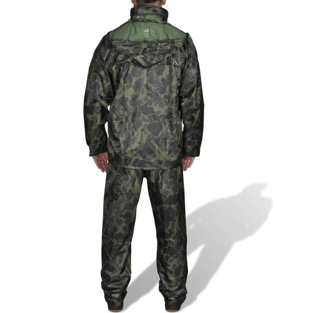 Pánský 2 dílný oblek do deště s kapucí - velikost XXL - maskáčový