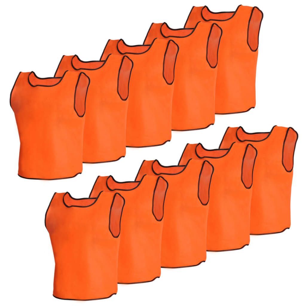 Image of vidaXL 10 pcs Orange Sport Bib Senior