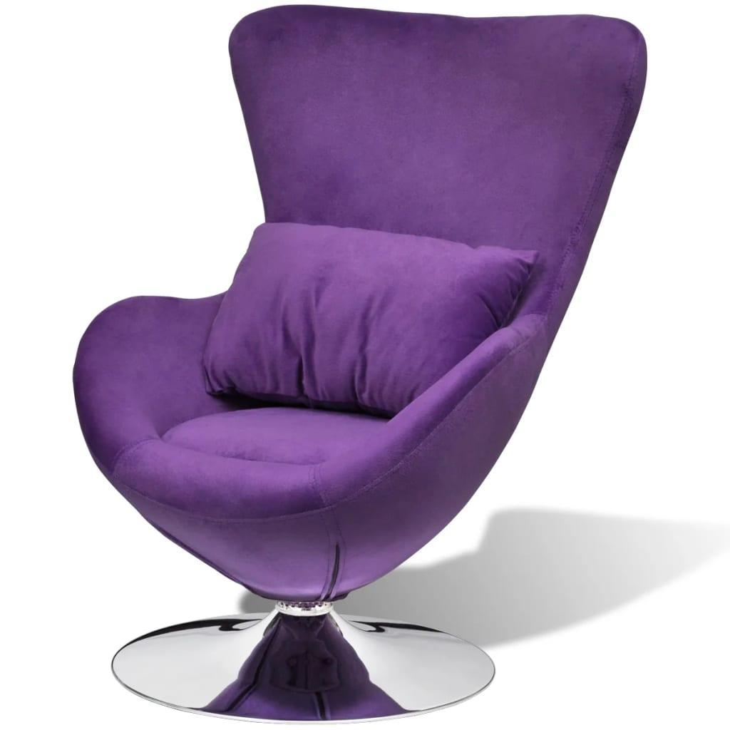 vidaXL Fotel obrotowy z poduszką, mały, fioletowy, aksamitny