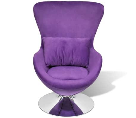 vidaXL Purple Egg Swivel Chair with Cushion Small[2/6]
