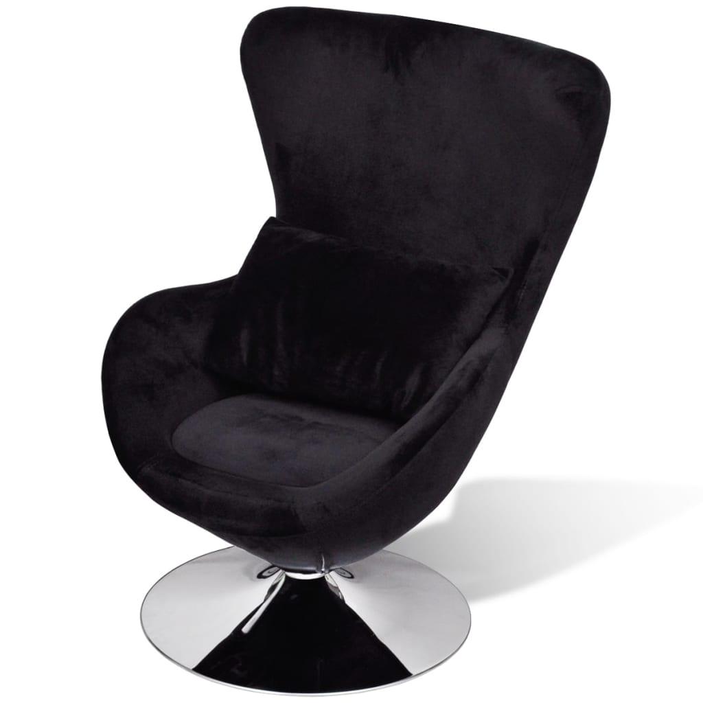 vidaXL Πολυθρόνα με Σχέδιο Egg Μαύρη