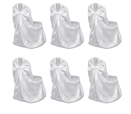 6 pcs White Chair Cover for Wedding Banquet[1/3]