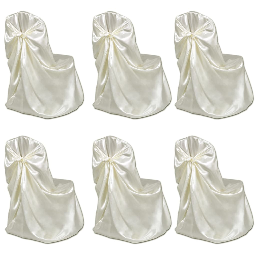 vidaXL 6 pcs Cream Chair Cover for Wedding Banquet