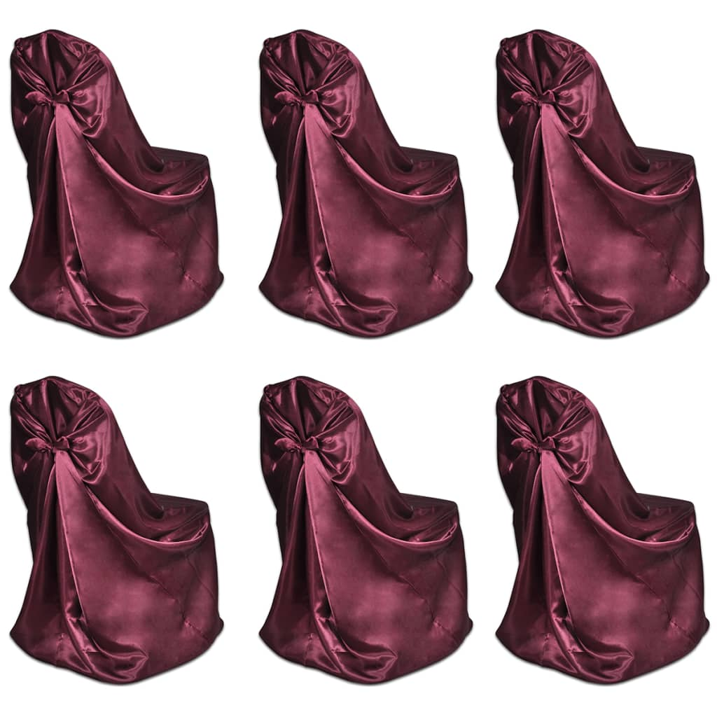 Set 6 huse scaune pentru evenimente, Burgundy vidaxl.ro