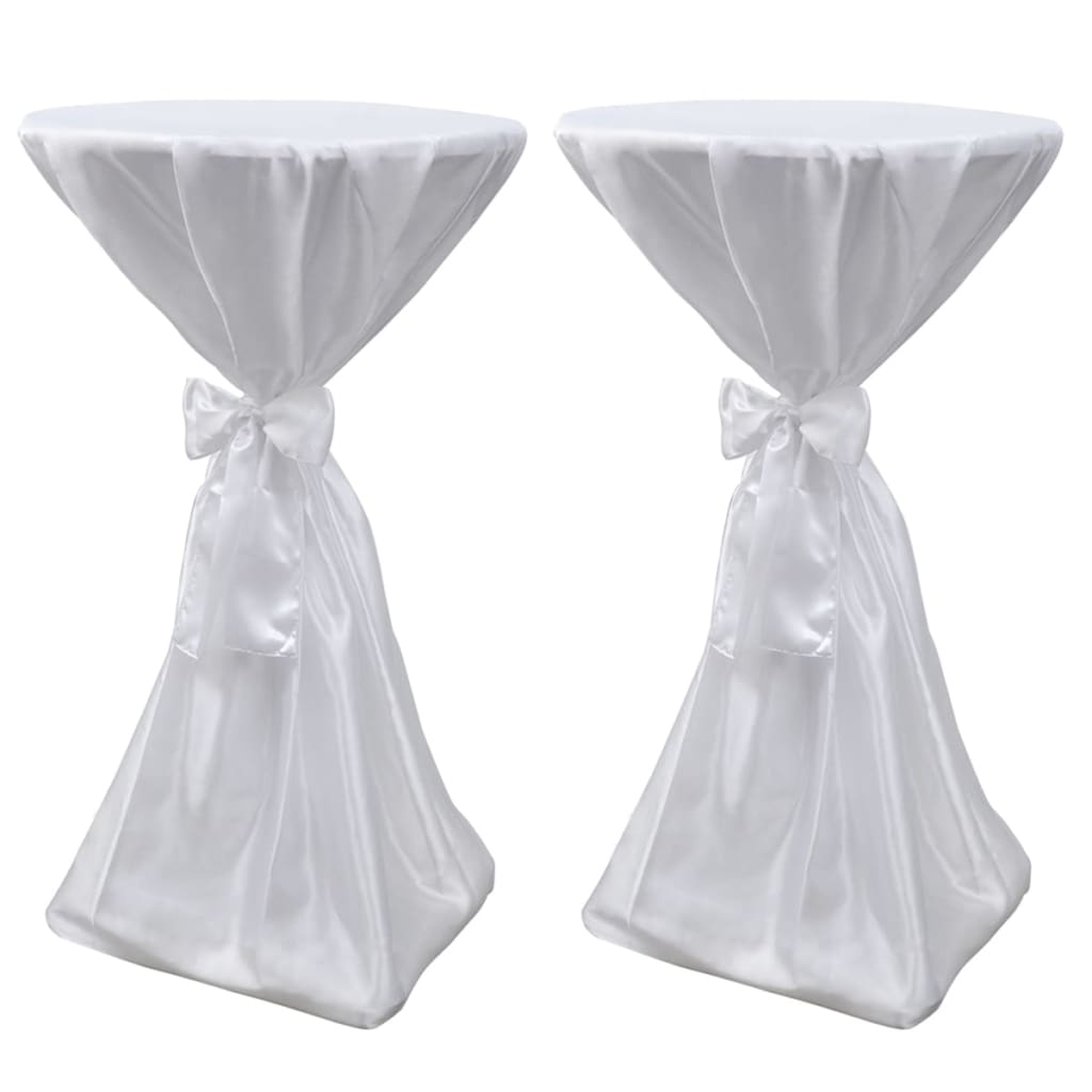 vidaXL Table Cover White 70 cm with Ribbon 2 pcs