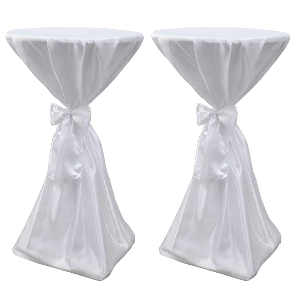 2 x Tischhusse Stehtischhusse weiß 80 cm