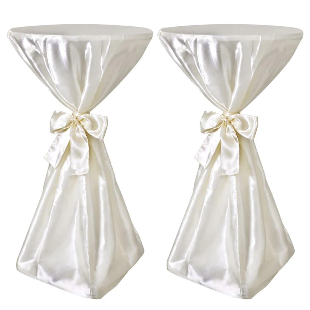 Potahy na stůl krémové, 60 cm, s mašlí, 2 ks