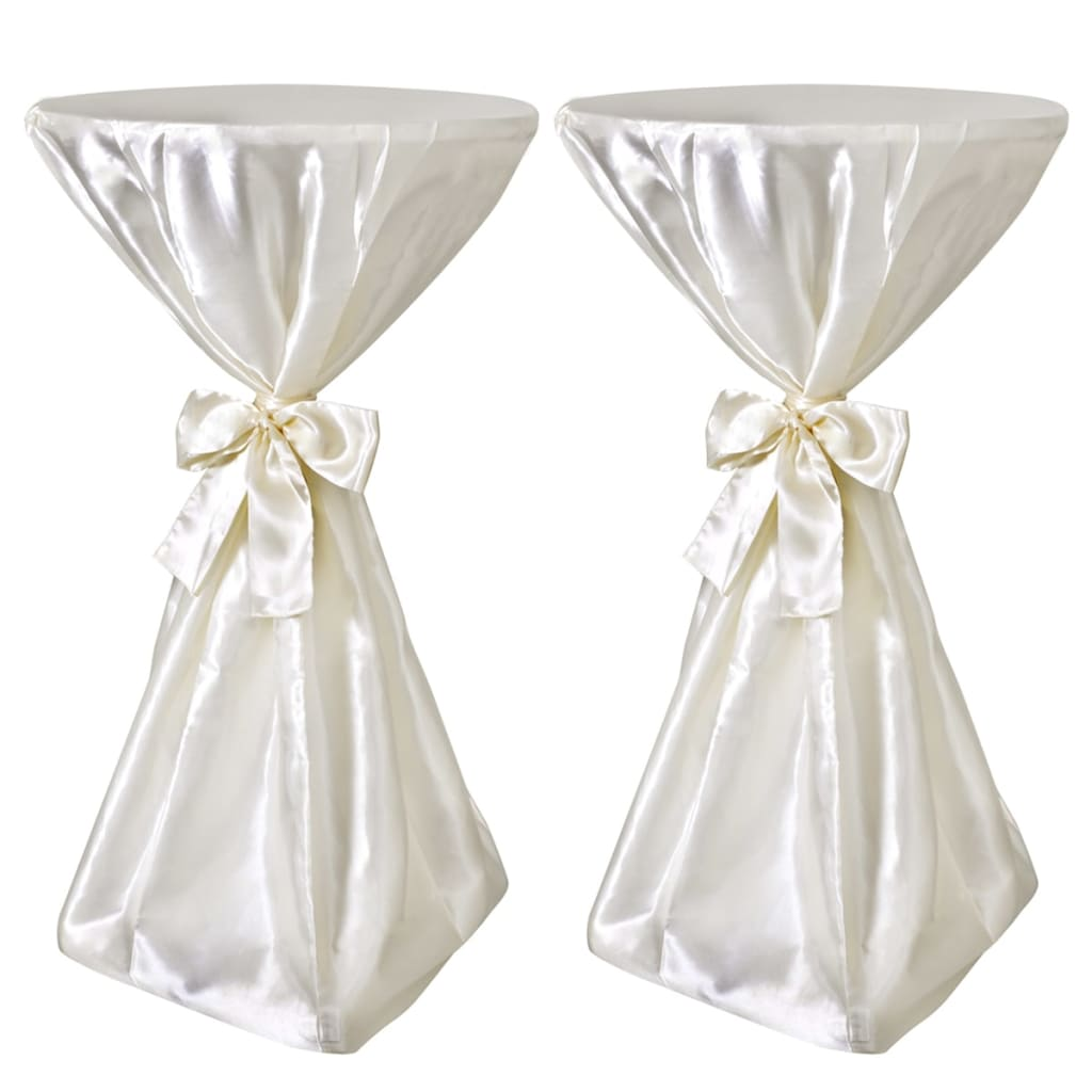 Set 2 fețe de masă pentru evenimente 70 cm cu panglică, Crem poza vidaxl.ro