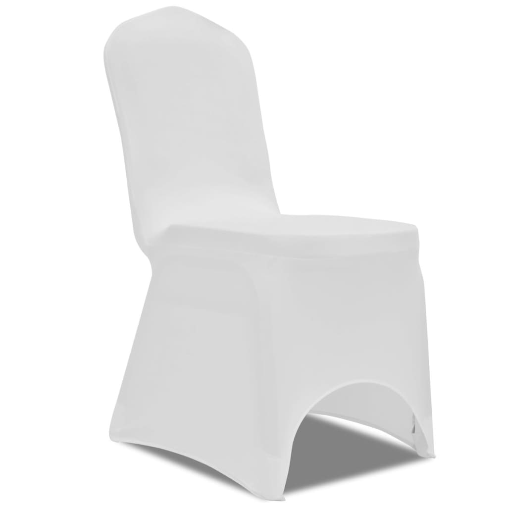 vidaXL Chair Cover Stretch White 50 pcs