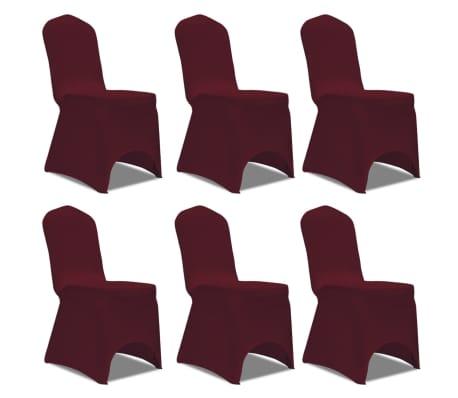 Housse bordeaux extensible pour chaise 6 pièces[1/7]