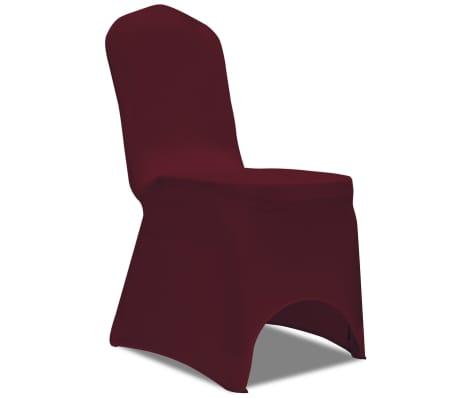 Housse bordeaux extensible pour chaise 6 pièces[2/7]
