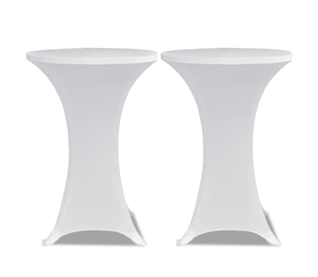 Housse de table ?60cm Blanche extensible 2 pcs[2/4]