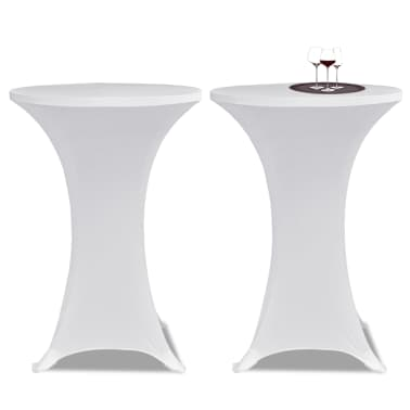 Housse de table ?60cm Blanche extensible 2 pcs[1/4]