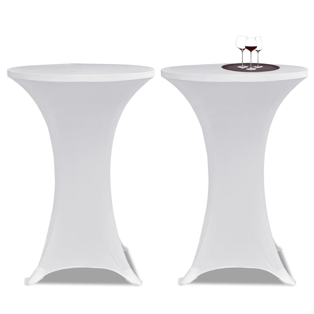Potahy na koktejlový stůl Ø 70 cm, bílé strečové, 2 ks