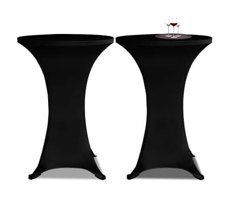 vidaXL Obrus na stół barowy Ø 60 cm, czarny, elastyczny, 2 szt.[1/4]