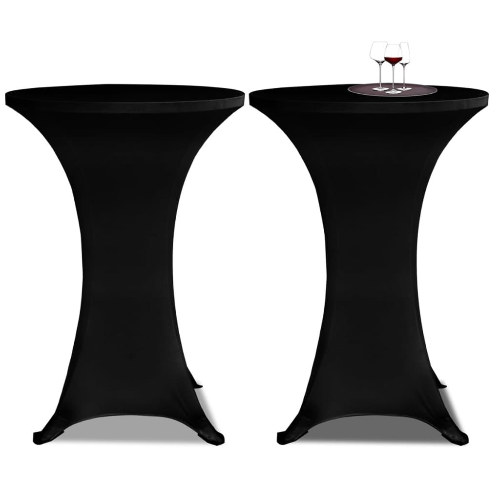 Potahy na koktejlový stůl Ø 80 cm, černé strečové, 2 ks
