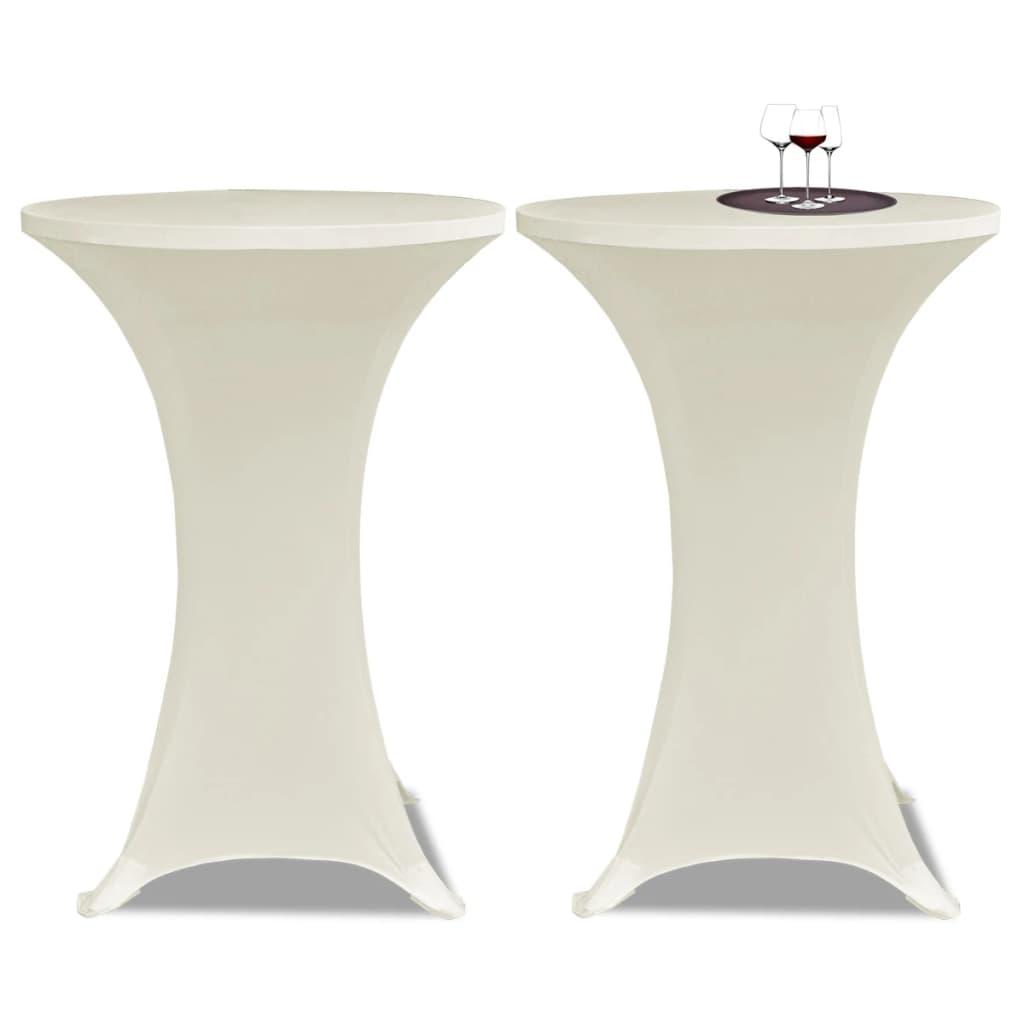 Potahy na koktejlový stůl Ø 70 cm, krémové strečové, 2 ks