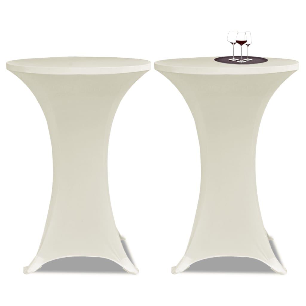 Potahy na koktejlový stůl Ø 80 cm, krémové strečové, 2 ks