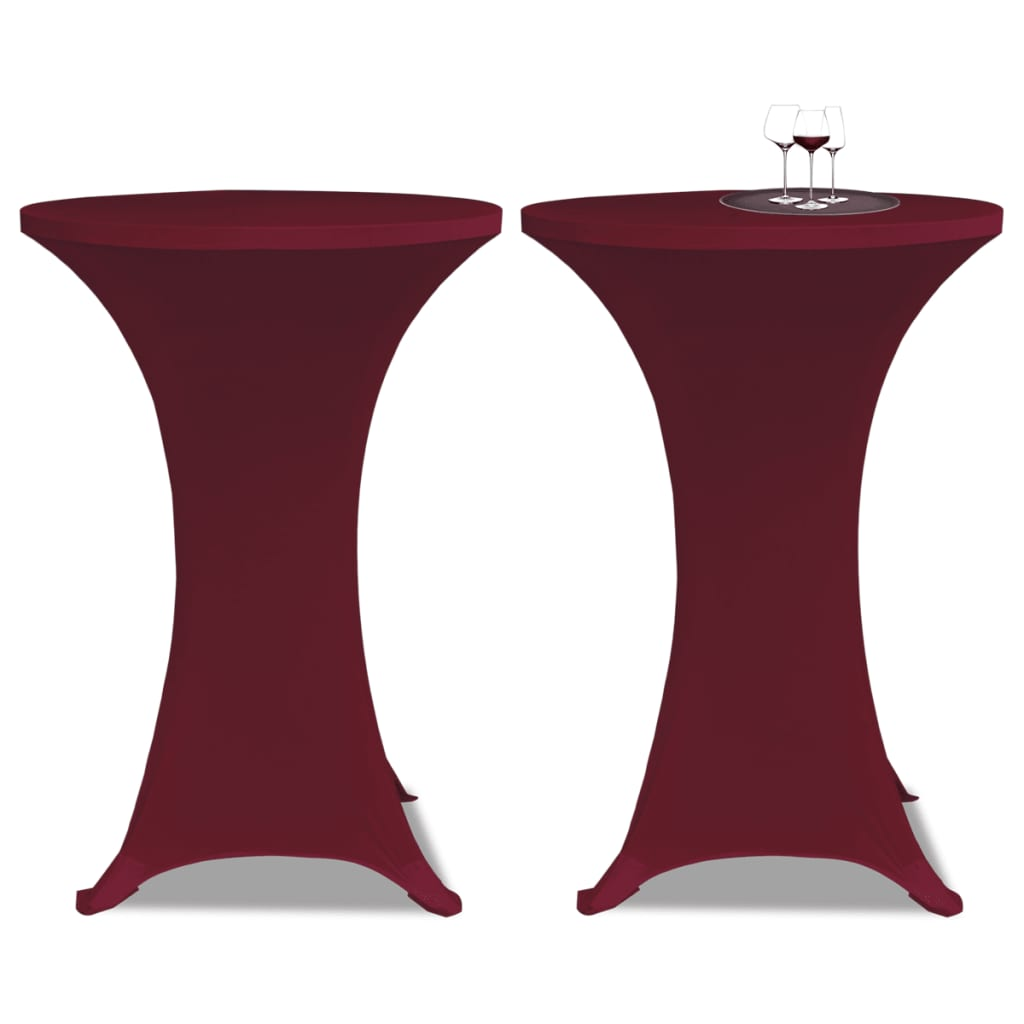 Faţă de masă pentru mese înalte Ø 70 cm Vişiniu Elasticizată 2 buc vidaxl.ro
