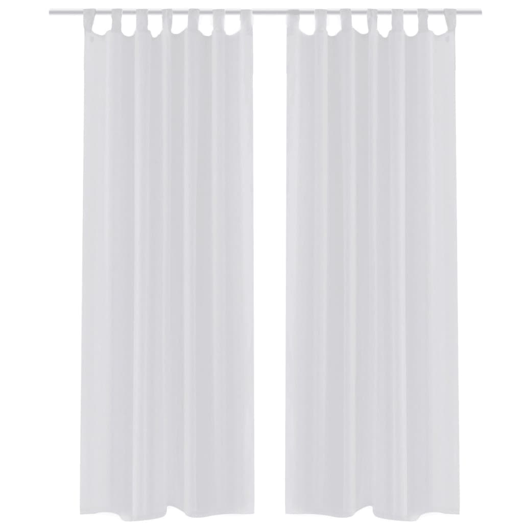 vidaXL White Sheer Curtain 140 x 175 cm 2 pcs