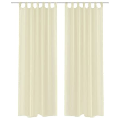 2 Cortinas color crema transparentes 140 x 225 cm[1/5]