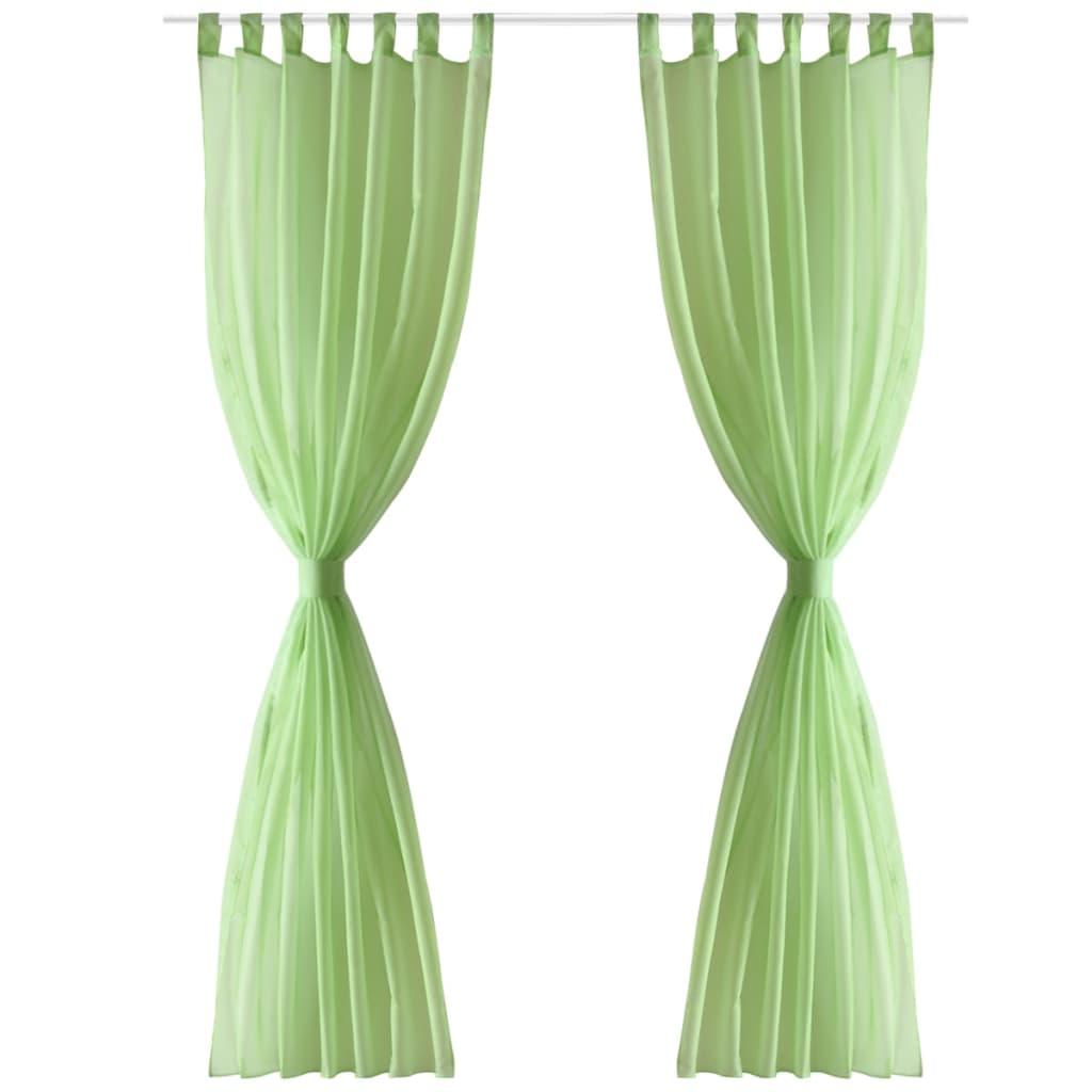 Jablkově zelené průsvitné závěsy - 2 ks - 140 x 175 cm