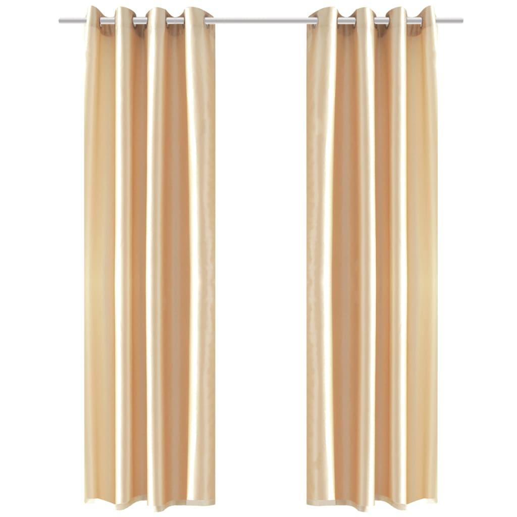 Pískové tafetové závěsy s kovovými kroužky - 2 ks - 140 x 245 cm
