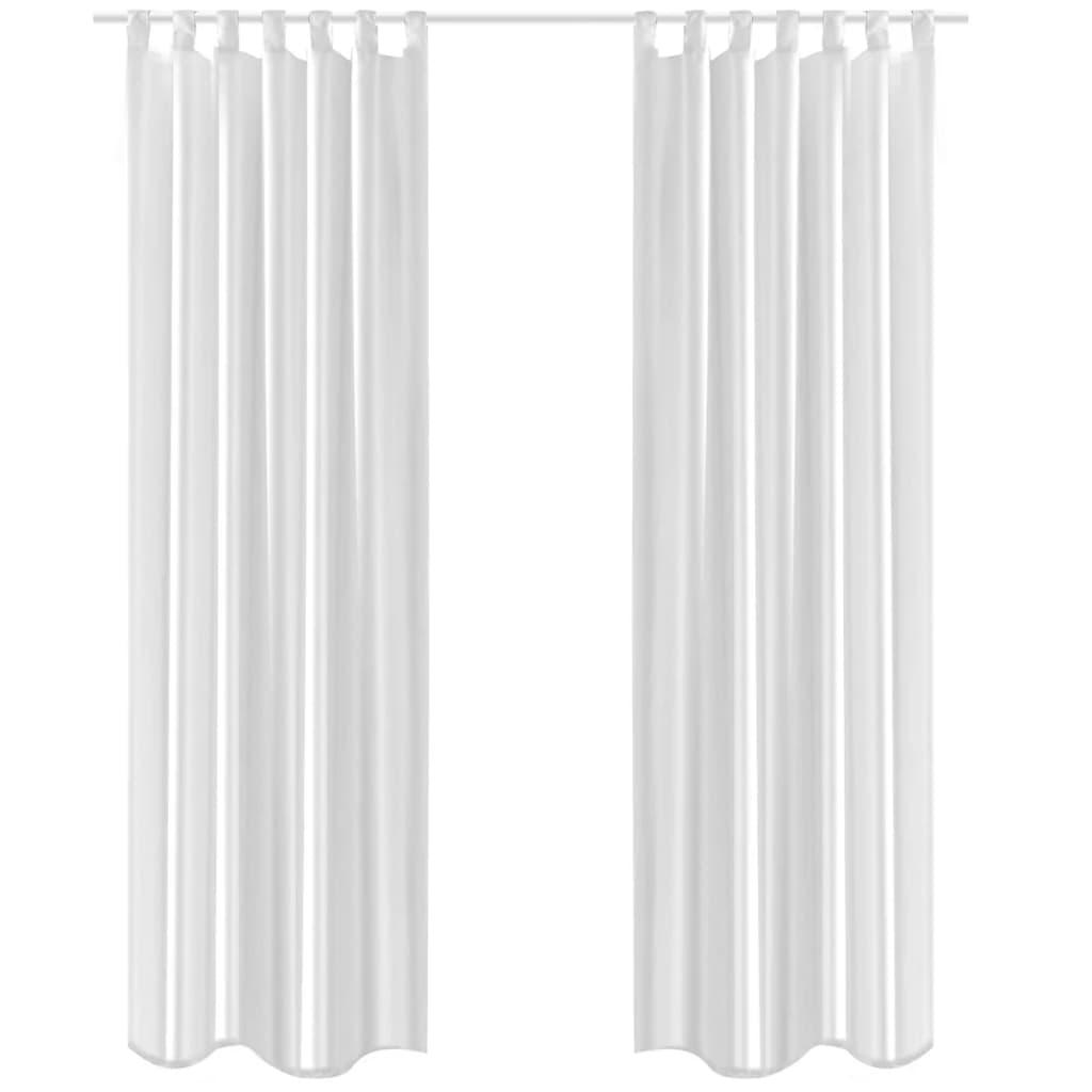 Tafetové lesklé závěsy - 2 ks - 140 x 245 cm - bílé