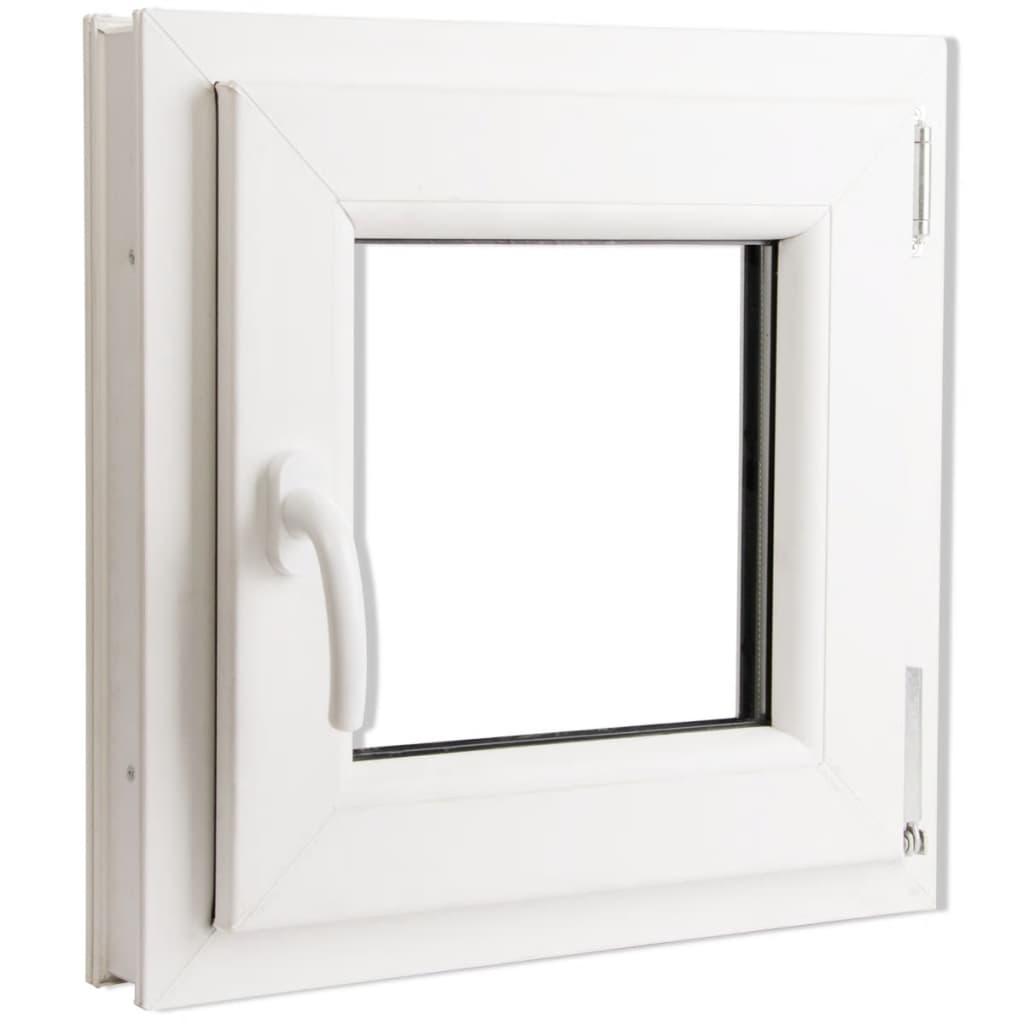 Fereastră batantă PVC 2 foi de sticlă cu mâner pe stânga 500 x 500 mm vidaxl.ro