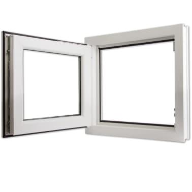 janela de pvc branca com a pega na esquerda e vidros duplos 600x600mm. Black Bedroom Furniture Sets. Home Design Ideas