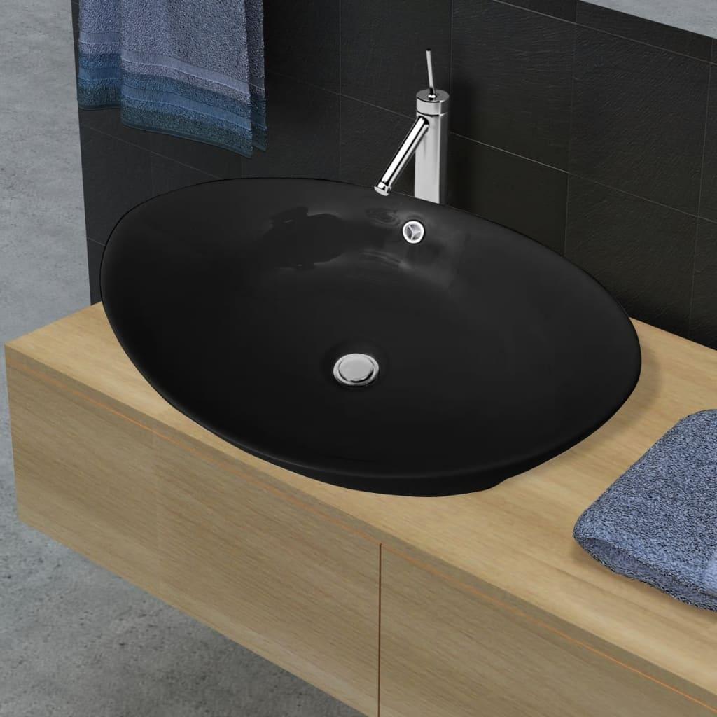vidaXL Black Luxury Ceramic Basin Oval with Overflow 59 x 38.5 cm