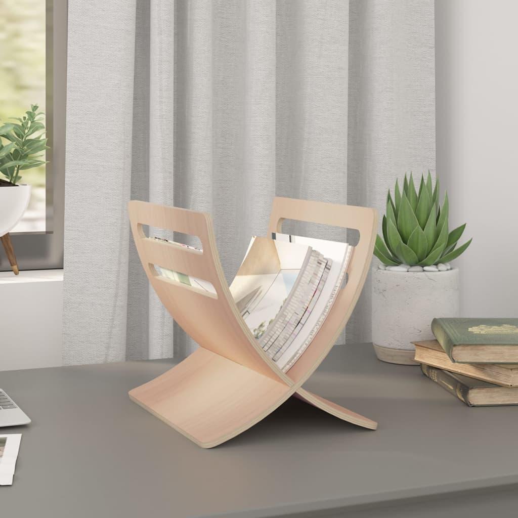 vidaXL Stojan na časopisy dřevěný, volně stojící, přírodní odstín
