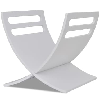 vidaXL Suport din lemn pentru reviste, vertical, alb[2/7]
